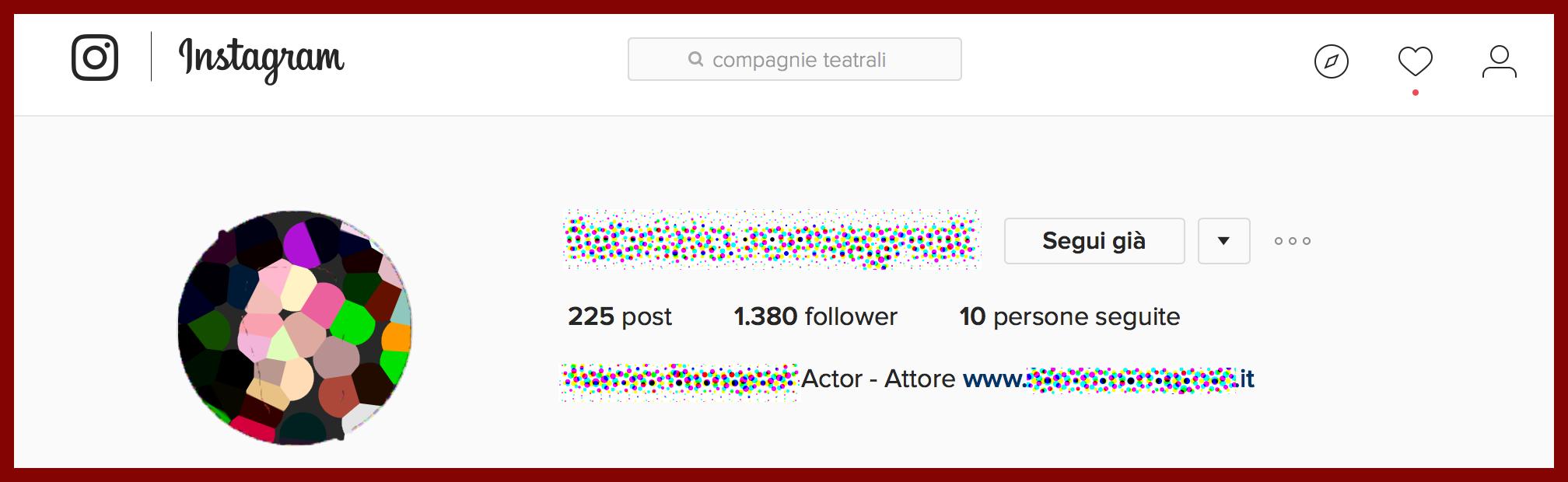 la bio instagram per attori di teatro
