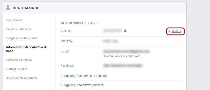 Facebook - informazioni-di-contatto